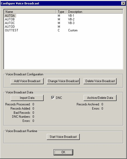 Voice Broadcast Configuration Menu